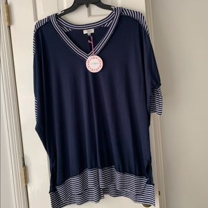 Umgee Navy half length stripe shirt new with tags